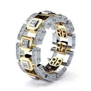 LA PAZ Two Tone Gold Unique Mens Wedding Bands with Diamonds