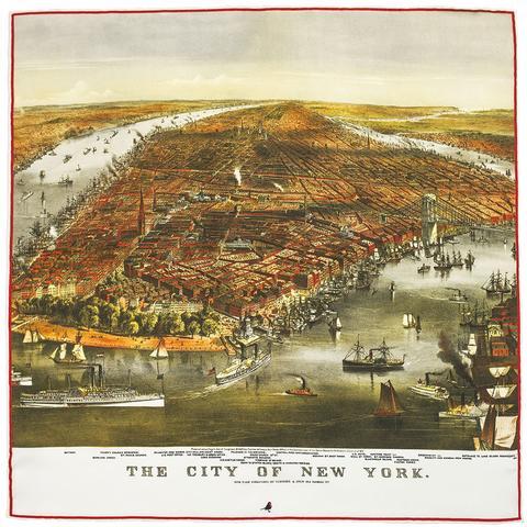New York Map Pocket Square large