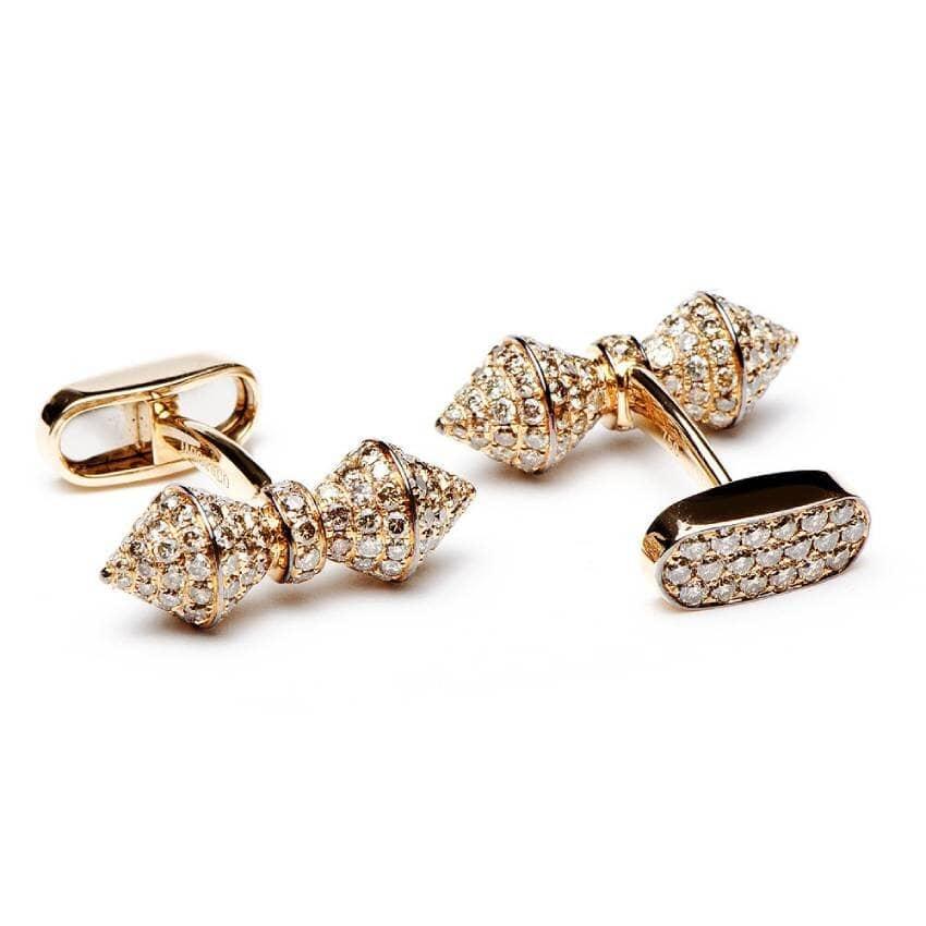 18K Rose Gold mens Diamond cufflinks