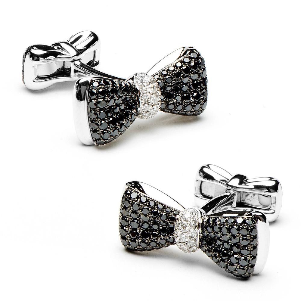 Designer Black Diamond cufflinks for men white gold Bow Tie