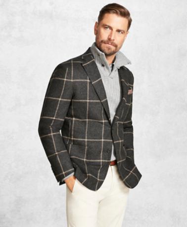 e0f3e2aabe1 Brooks Brothers Golden Fleece Charcoal with Camel Windowpane Sport Coat
