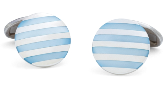 Designer Blue stripe Brooks Brothers cufflinks for men style