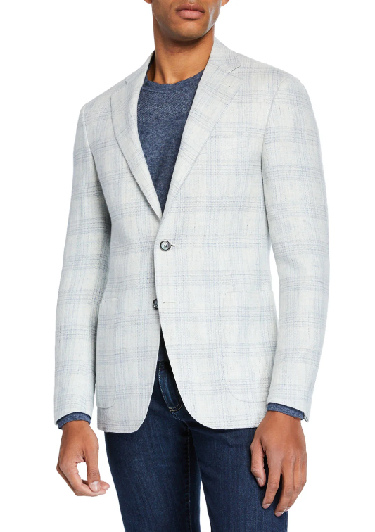 Canali white sport coat mens plain designer