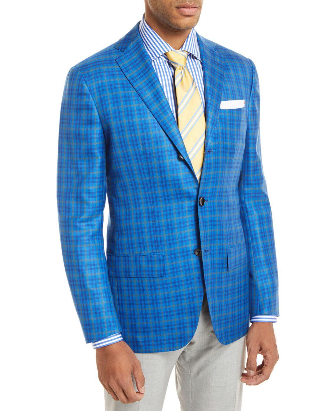 Check 3 Button Sport Coat Neiman Marcus