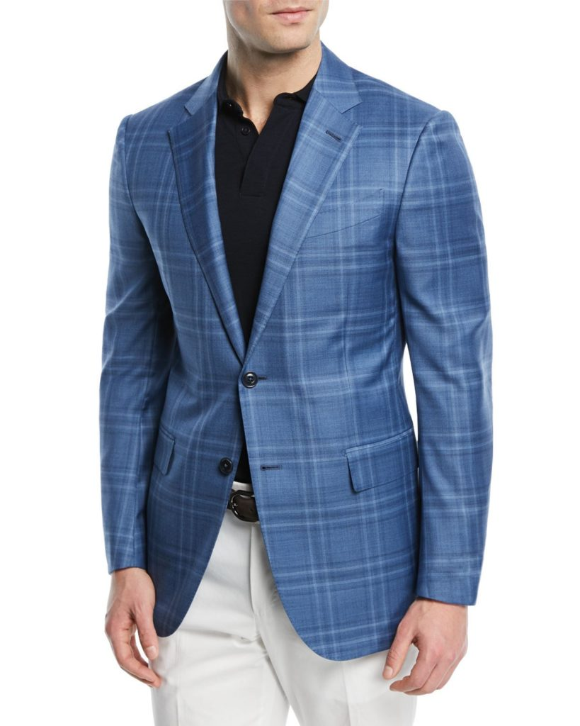 Ermenegildo Zegna Sport Coat Plaid Wool Silk mens style