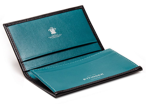 363305bf1da Ettinger wallet black and turquoise visiting card case sterling collection