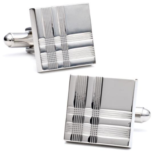 Tartan Silver cufflinks for men square