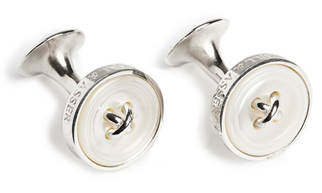 Turnbull Asser Button Silver Pearl Cufflinks men