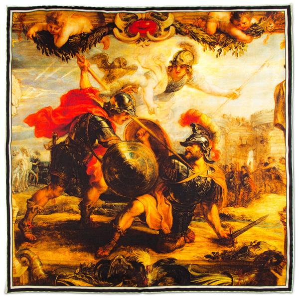 Achilles Slays Hector silk pocket square rampley and co