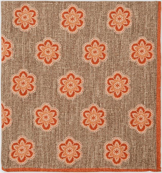Eleventy Reversible Wool Cotton Pocket Square1