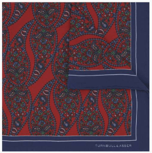 Turnbull and asser blue and red pocketsqure