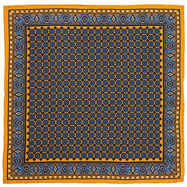 Yellow Blue Paisley Pocket Squares Rampley and Co