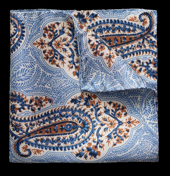 Eton pocket square blue silk