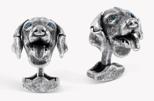 dog cufflinks for men silver