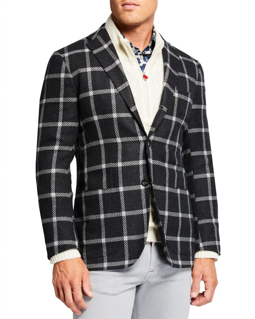 kiton cashmere sport coat windowpane mens