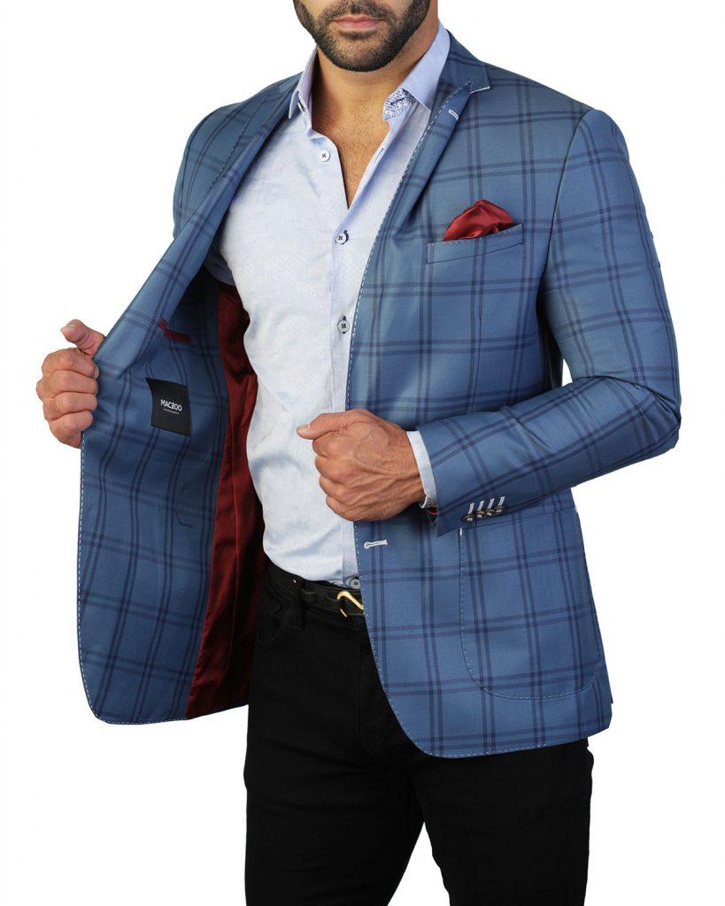 Maceoo mens designer blazers and sport coats blue