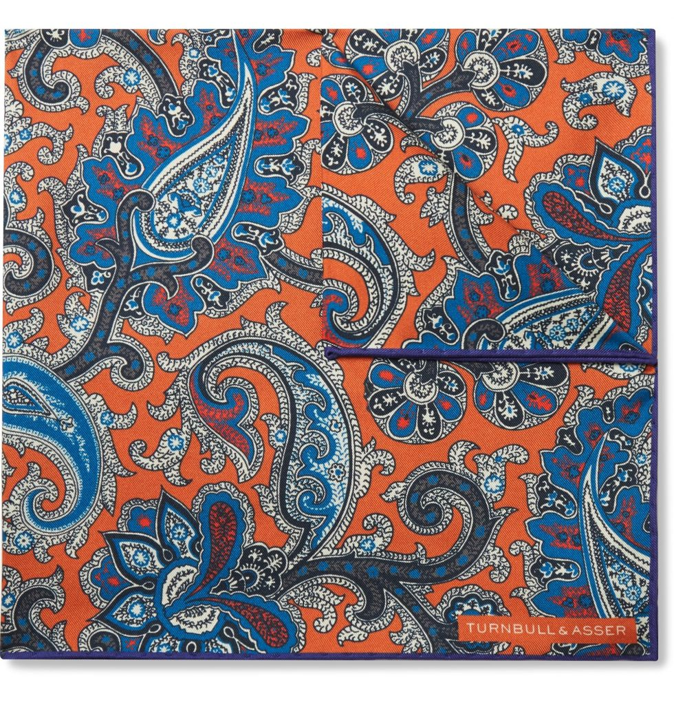 blue and orange pocket square turnbull and asser