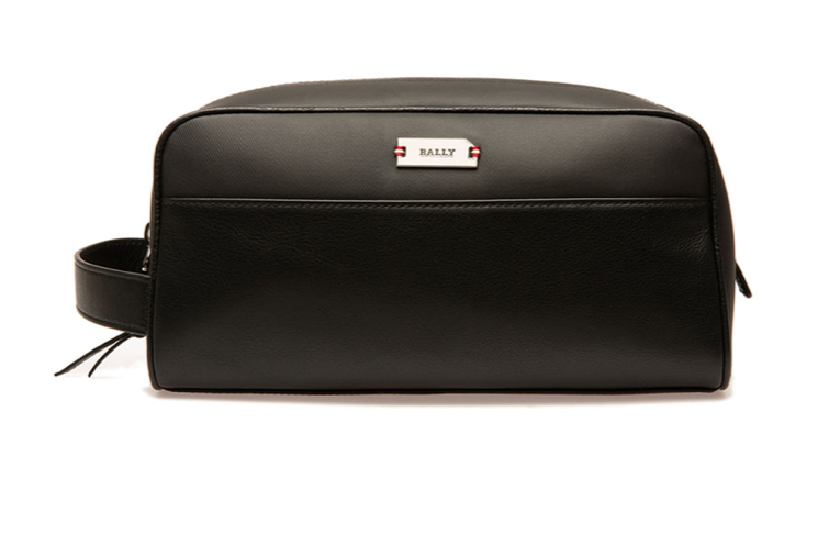 bally mens leather toiletry bag black
