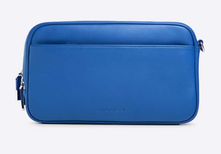 Bugatchi mens leather toiletry bag blue
