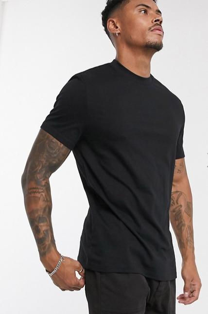 ASOS plain black tshirt men