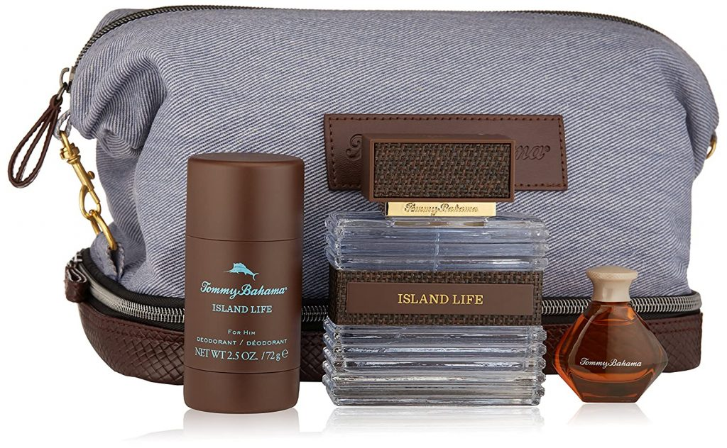 Tommy Bahama best dopp kit mens toiletry bag blue and brown